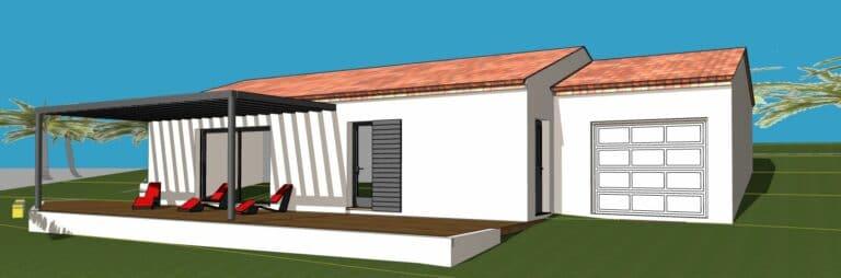 Villa 3 chambres + garage + terrain 420m2 au Lavandou